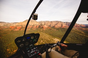 The veiw of Sedona Arizona from a Guidance Air cockpit